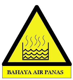 rambu bahaya air panas